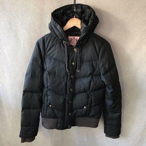 JUICY COUTURE down puffer jacket black ribbon hood